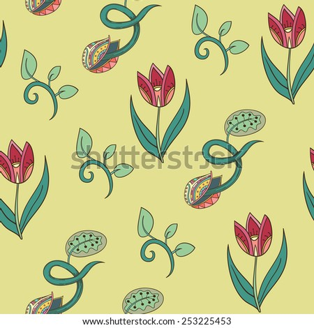 Abstract spring background with flowers. Seamless texture with flowers and sprouts. - stock vector
