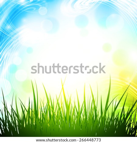 Abstract Spring Background With Green Grass and Copyspace - stock vector