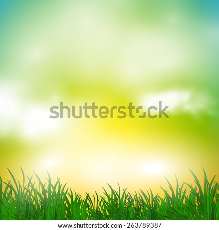 abstract spring background with meadow and mist - stock vector