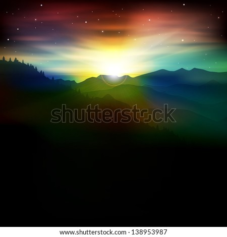 abstract spring background with mountains and sunrise - stock vector