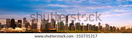 abstract spring morning background with panorama of vancouver - stock vector