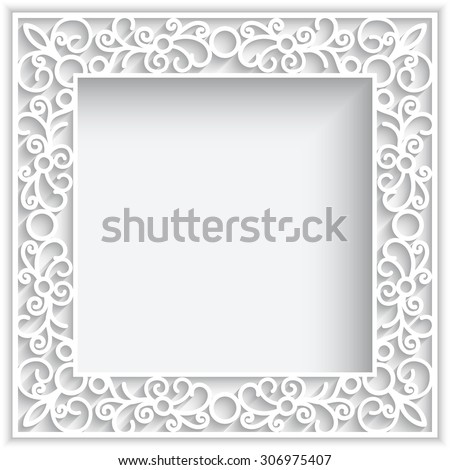 Abstract square lace frame with paper swirls on white, vector ornamental background, eps10 - stock vector