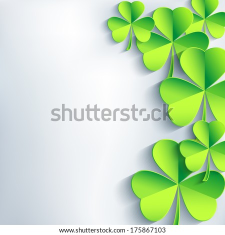 Abstract St. Patrick's day background with green leaf clover. Trendy stylish gray background. St. Patrick day card. Vector illustration  - stock vector