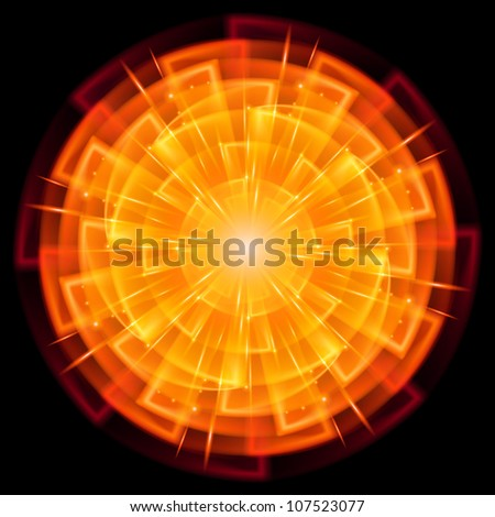 Abstract Star Explosion. Illustration on black background - stock vector