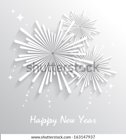 Abstract starry fireworks. Happy New Year. Vector illustration. - stock vector