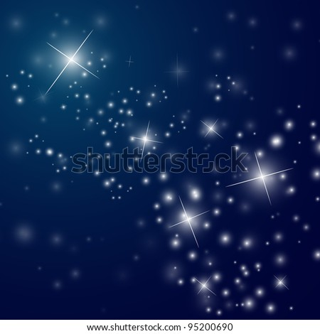 abstract starry night sky - vector illustration - stock vector