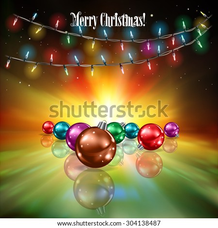Abstract stars background with Christmas lights and decorations on green - stock vector