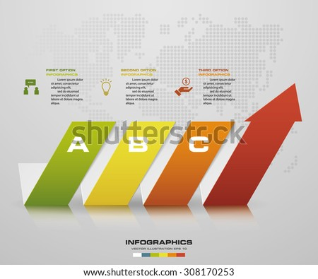 Abstract 3 steps arrow diagram. Step by step infographics illustration - stock vector