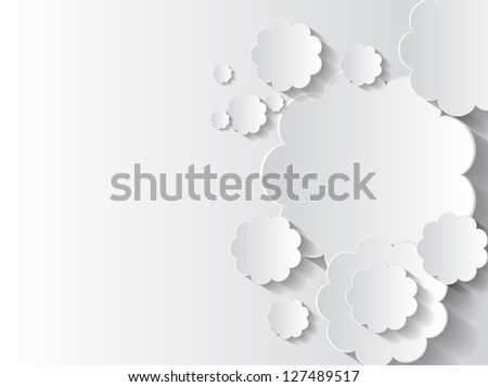 Abstract sticker background with white flowers and space for text. - stock vector