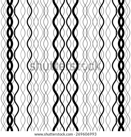 abstract striped wavy black and white seamless pattern - stock vector