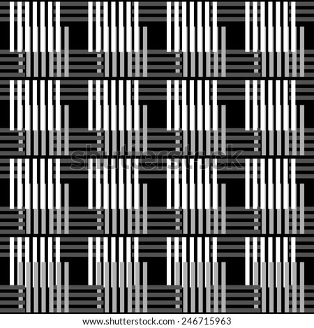Abstract stripped geometric seamless pattern in black and white. Modern monochrome background texture. Lines, stripes - stock vector