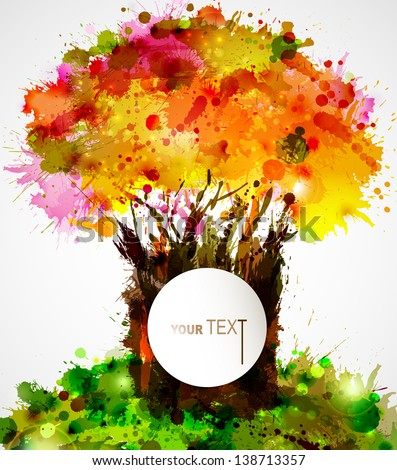 abstract strong tree forming by blots - stock vector