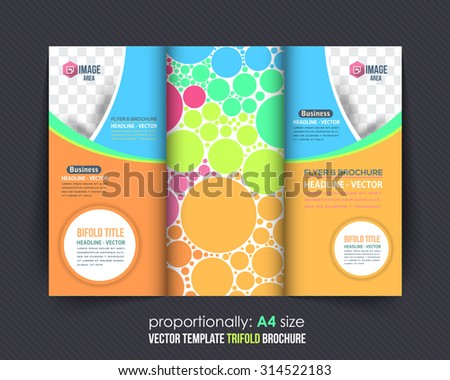Abstract Style Circle Elements and Summer Colors Concept Tri-fold Design and Brochure, Catalog Vector Template  - stock vector
