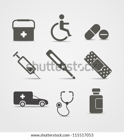 Abstract style medical icons set - stock vector