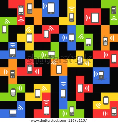 Abstract style modern and vintage mobile gadgets on color blocks - stock vector