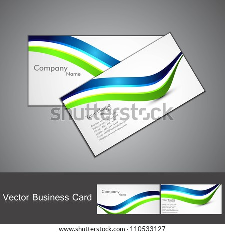 abstract stylish colorful wave business card set design - stock vector