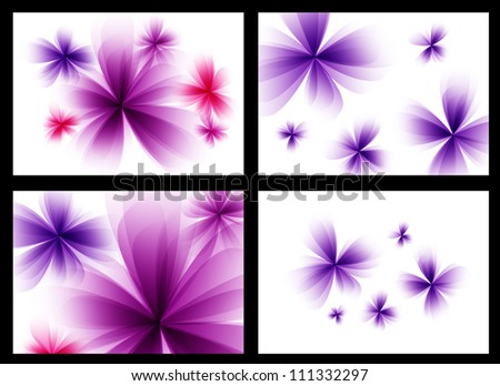 Abstract stylized purple vector flowers set. - stock vector