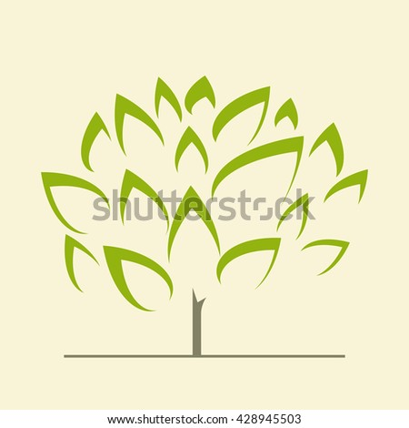 Abstract stylized vector green tree - icon sign symbol - stock vector