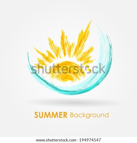 Abstract summer background. Watercolor sea wave and sun - stock vector
