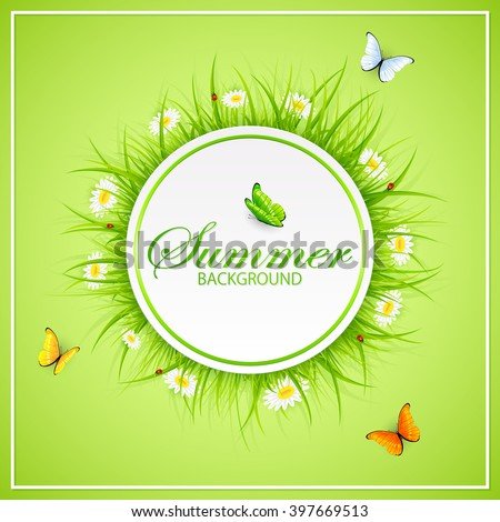 Abstract summer green background with round card, grass, ladybugs and flying butterflies, illustration. - stock vector
