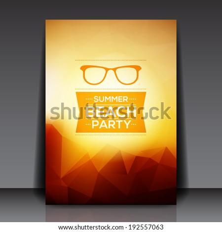 Abstract Summer Party Flyer Template - Vector Design Concept - stock vector