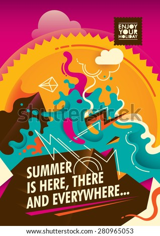 Abstract summer poster design in color. Vector illustration. - stock vector