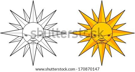 Abstract sun vector tribal illustration - stock vector