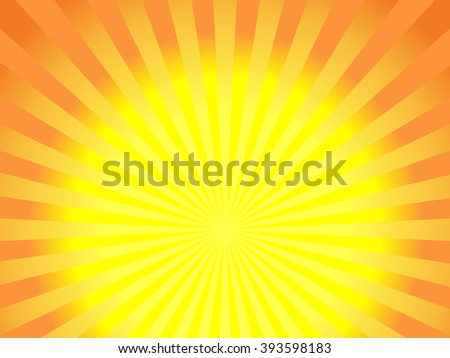 Abstract sunbeams background - vector illustration. Illustration shiny sunbeams. Bright sunbeams on yellow background. Abstract bright background - vector. - stock vector