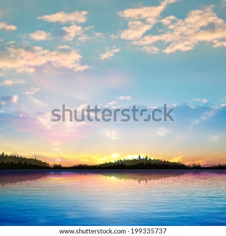 abstract sunrise background with forest lake and clouds - stock vector