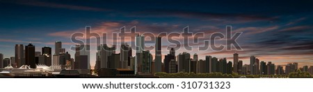 abstract sunrise background with panorama of vancouver - stock vector