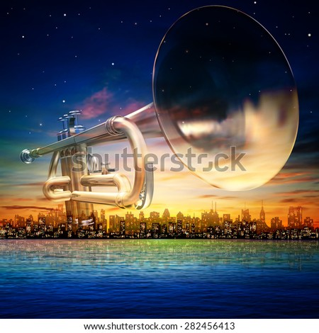 abstract sunrise background with silhouette of New York and trumpet - stock vector
