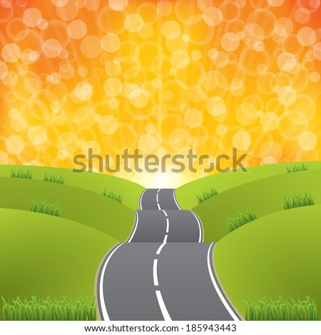 Abstract sunset at the end of the road - stock vector