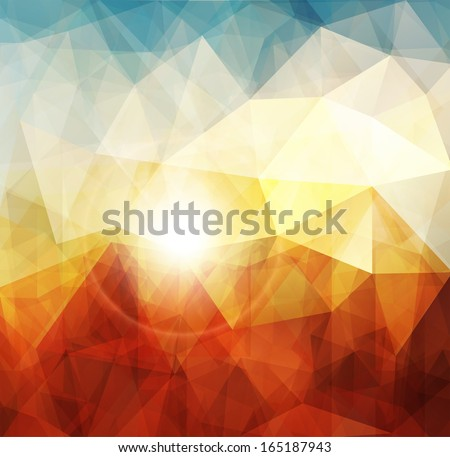 Abstract sunset background, warm texture design. - stock vector