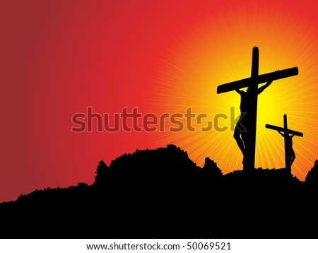 abstract sunset background with jesus in cross on mountain - stock vector