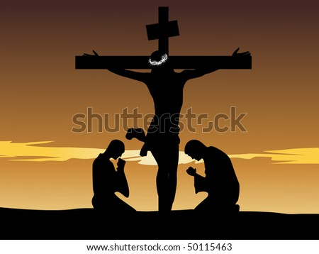 abstract sunset background with jesus on cross, two people - stock vector