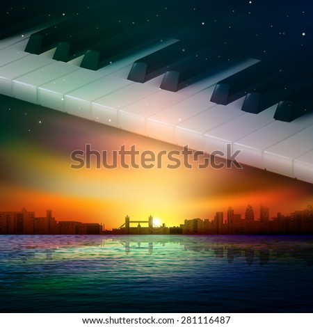 abstract sunset background with silhouette of London and piano keys - stock vector