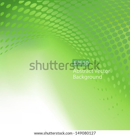 Abstract Swirl of Green Dots on a smooth light tunnel vector EPS10 background - stock vector
