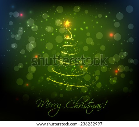 Abstract swirly christmas tree on dark green background - stock vector