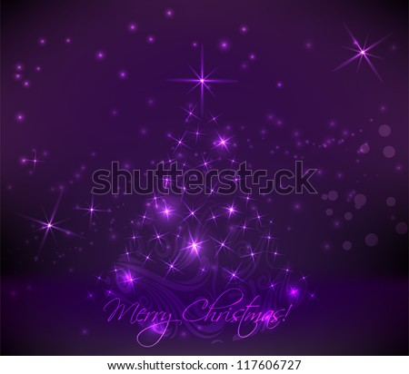 Abstract swirly christmas tree on dark purple background - stock vector