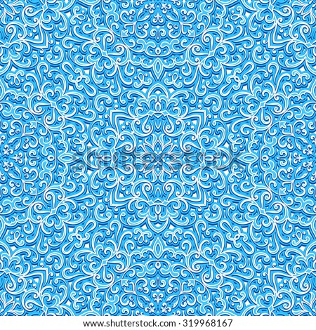 Abstract swirly ornament, vector bright blue texture, seamless pattern - stock vector