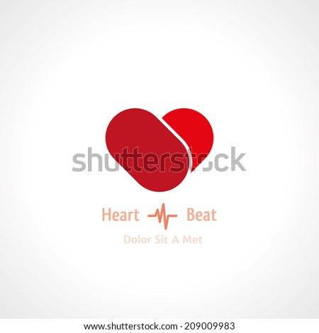 abstract symbol of heart. vector icon eps10 - stock vector