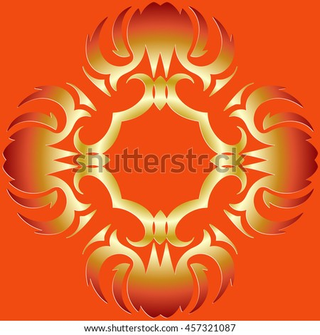 Abstract symmetrical decor halo burning flame pattern on the orange background of the elements of geometric figures - stock vector