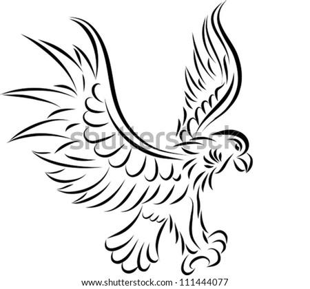 Abstract tattoo eagle, vector illustration - stock vector