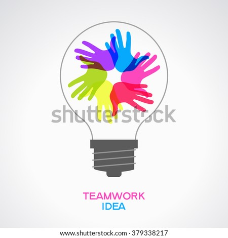 Abstract teamwork concept with lightbulb and colorful hands - stock vector