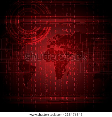 Abstract tech binary red global background   - stock vector