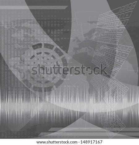 Abstract tech binary silver background - stock vector