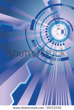 Abstract techno background, elements for design, hi-tech wallpaper, vector illustration - stock vector