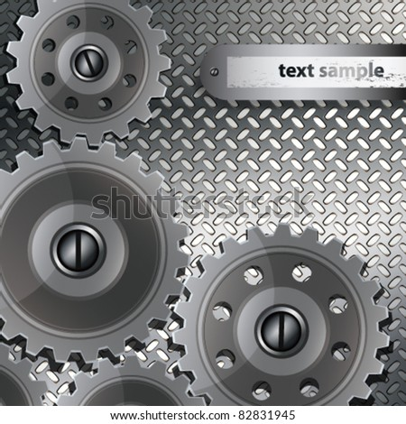 Abstract techno background with metal gears on a fluted texture. - stock vector