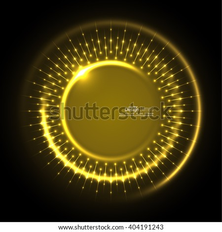 Abstract techno background with spirals and rays with glowing particles. Tech design. Lights vector frame. Glowing dots.  yellow, gold - stock vector
