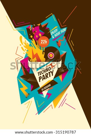 Abstract techno party poster design. Vector illustration. - stock vector